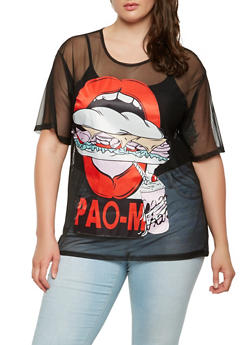 Plus Size Lip Patch Mesh Tee - 0912074288603