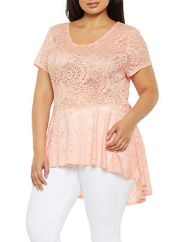 Plus Size Lace High Low Peplum Top - 0912074289023