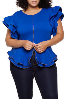 Plus Size Textured Knit Zip Front Top - 0912074289912