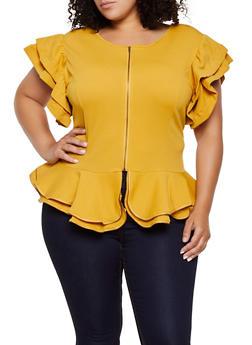 Plus Size Textured Knit Zip Front Top - 0912074289912