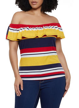 Plus Size Ruffled Striped Off the Shoulder Top - 0912074289940
