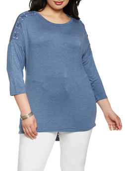 Plus Size Lace Up Sleeve Top - 0912074540352