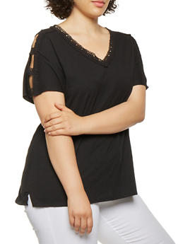 Plus Size Crochet Trim Caged Sleeve Top - 0912074540359