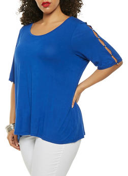 Plus Size Button Caged Sleeve Tee - 0912074540360