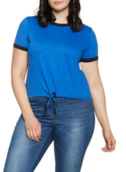 Plus Size Contrast Trim Tie Front Tee - 0915001441841