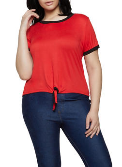 Plus Size Contrast Trim Soft Knit Tee | 0915001441844 - 0915001441844