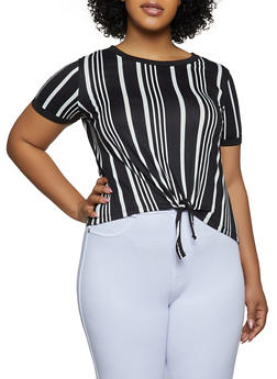 Plus Size Tie Front Striped Tee - 0915001441845