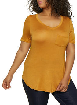 Plus Size One Pocket Tee - 0915001443884