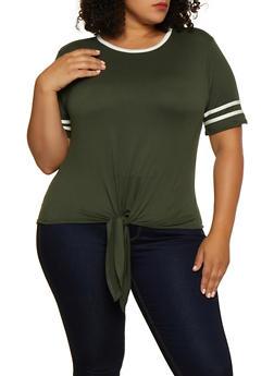 Plus Size Varsity Stripe Tie Front Top - 0915001443890