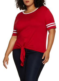 Plus Size Varsity Stripe Tie Front Top - 0915001443890