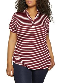 Plus Size Mandarin Collar Striped Tee - 0915001448821