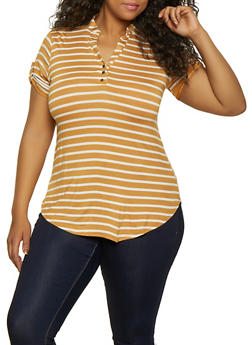 Plus Size Mandarin Collar Striped Tee - 0915001448821