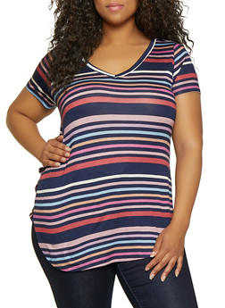 Plus Size Striped Split Side Tee - 0915001448852