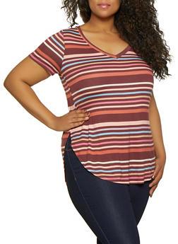 Plus Size Striped Split Side Tee - 0915001448852
