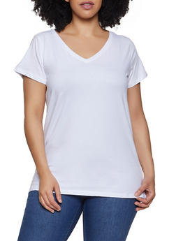 Plus Size V Neck Tee - 0915015051101