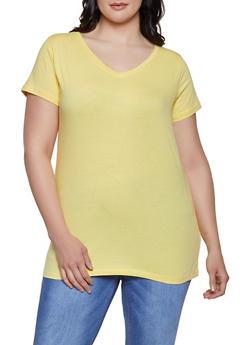 Plus Size V Neck Tee - 0915015051101