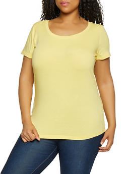 Plus Size Scoop Neck Tee - 0915015051111