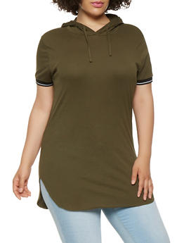 Plus Size Basic Hooded Tunic Tee - 0915033872475