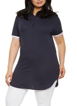 Plus Size Basic Hooded Tunic Tee - 0915033872475