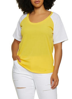 Plus Size Ribbed Baseball Tee - 0915038349110