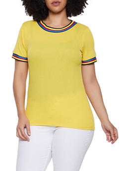Plus Size Striped Tape Trim Tee - 0915038349114