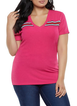Plus Size Ribbed Knit V Neck Tee - 0915038349120