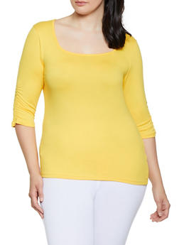 Plus Size Ruched Sleeve Square Neck Tee - 0915038349262