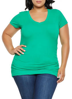 Plus Size Ruched Round Hem Top - 0915038349275
