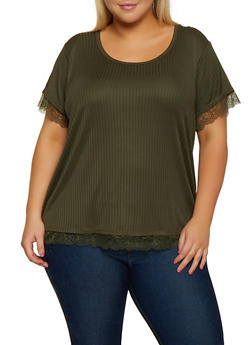 Plus Size Rib Knit Lace Trim Top - 0915051067107