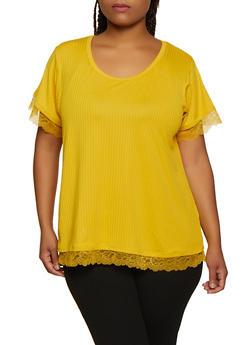 Plus Size Rib Knit Lace Trim Top - 0915051067107