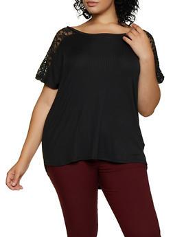Plus Size Lace Yolk Top - 0915051067109