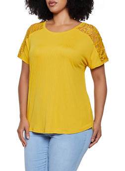 Plus Size Lace Yolk Top - 0915051067109