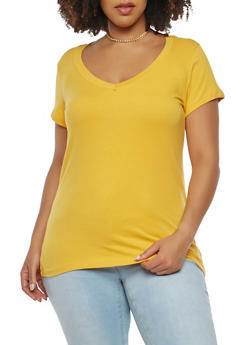 Plus Size Solid V Neck Tee - 0915054260500