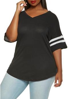 Plus Size Basic V Neck Tee - 0915054260502
