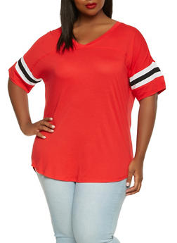 Plus Size Basic V Neck Tee - 0915054260502