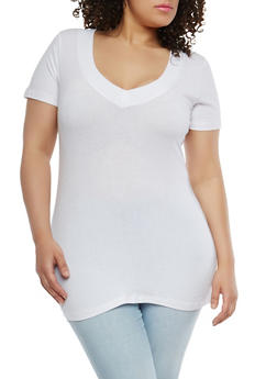 Plus Size Basic Wide V Neck T Shirt - 0915054260505
