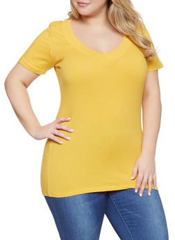 Plus Size Basic Wide V Neck T Shirt - 0915054260505