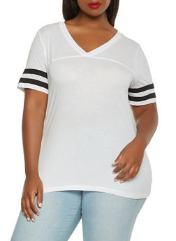 Plus Size Basic V Neck Tee - 0915054260509