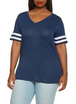 Plus Size Basic V Neck Tee - 0915054260509