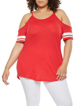 Plus Size Cold Shoulder Striped Sleeve Top - 0915054260533