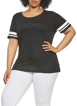 Plus Size Varsity Stripe Sleeve Tee - 0915054260557