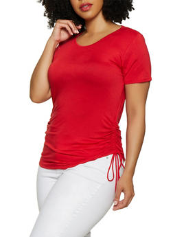 Plus Size Ruched Side Tee - 0915054261484