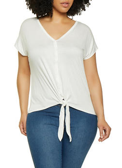 Plus Size Tie Button Front Top - 0915054261496