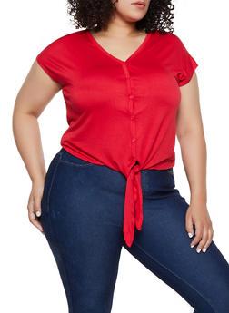 Plus Size Tie Button Front Top - 0915054261496