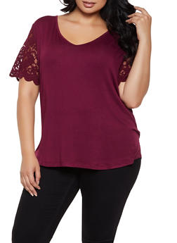 Plus Size Lace Sleeve Top - 0915054261498