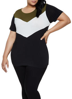 Plus Size Chevron Color Block Tee - 0915054261529