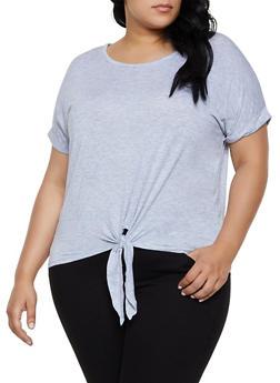 Plus Size Tie Front Tee | 0915054261533 - 0915054261533