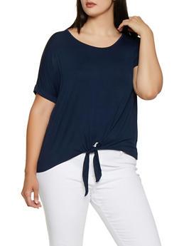 Plus Size Tie Front Tee   0915054261533 - 0915054261533