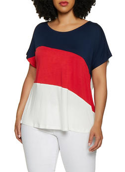 Plus Size Diagonal Color Block Tee - 0915054261534