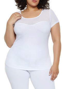 Plus Size Mesh Polka Dot Yoke Top - 0915054265499